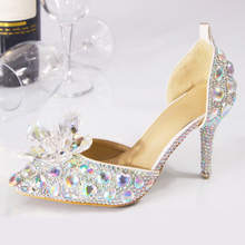 Wedding Shoes Bride Women Summer Sandals Crystal   Big Size High Heels Princess Shoes Silver Red Colorful
