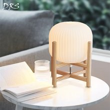 Japanese Glass Wood Desk Lamp Southeast Asia Desk Lamp Bedroom Modern Nordic Fashion Decoration Retro Lampshade Table Lights(China)