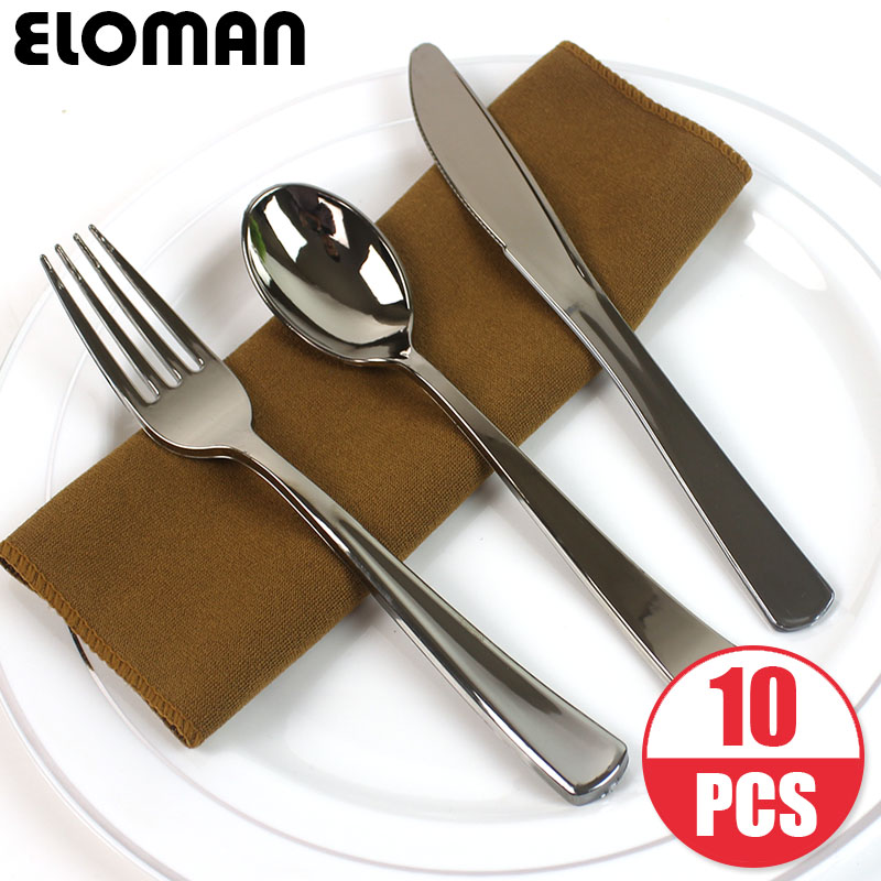 ELOMAN 10 pieces disposable plastic tableware for wedding birthday party camping <font><b>BBQs</b></font> plastic forks spoons kinves decorations