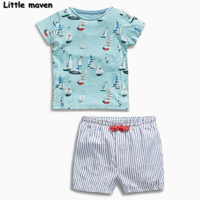 273ff6feb26c0 Little maven brand children clothing 2017 new summer baby boy clothes  cotton sailing boat children's sets