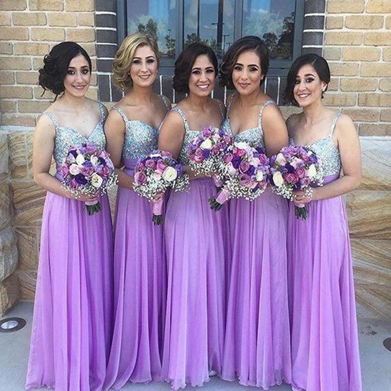 Impresionante niza lavanda lila larga barato Vestido de dama Vestido ...