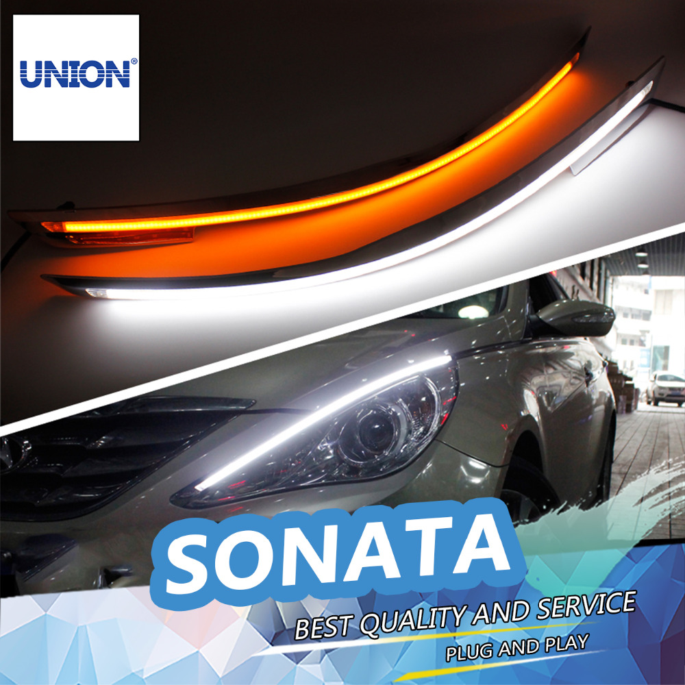ФОТО UNION Car styling Free shipping 9600Lm Car Headlight Sonata Angel Eyes LED Eyebrow Daytime Running Light For 2011-2014 Sonata 8