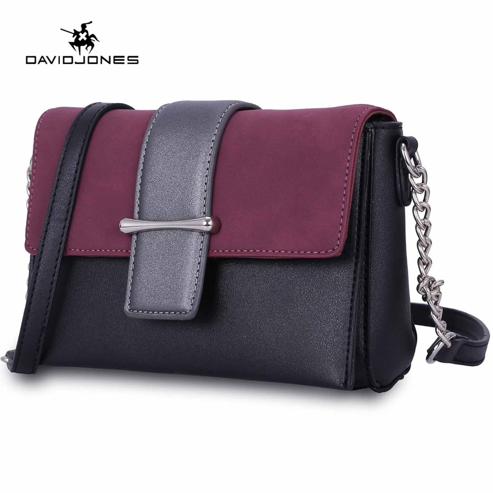 DAVIDJONES women messenger bags pu leather female handbag small lady chain shoulder bags girl brand crossbody bag drop shipping цена 2017
