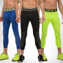 975906c3b1d3fe Men's Reflective Compression Pants Fitness Cropped Trousers Quick Dry  Breathable Gym 3/4 Leggings Men