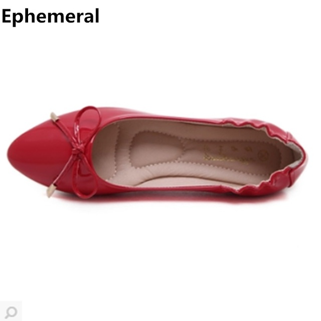 8890e0155e 2017 Bow sweet red ballerina flat shoes patent leather for women point toe  soft sole vintage