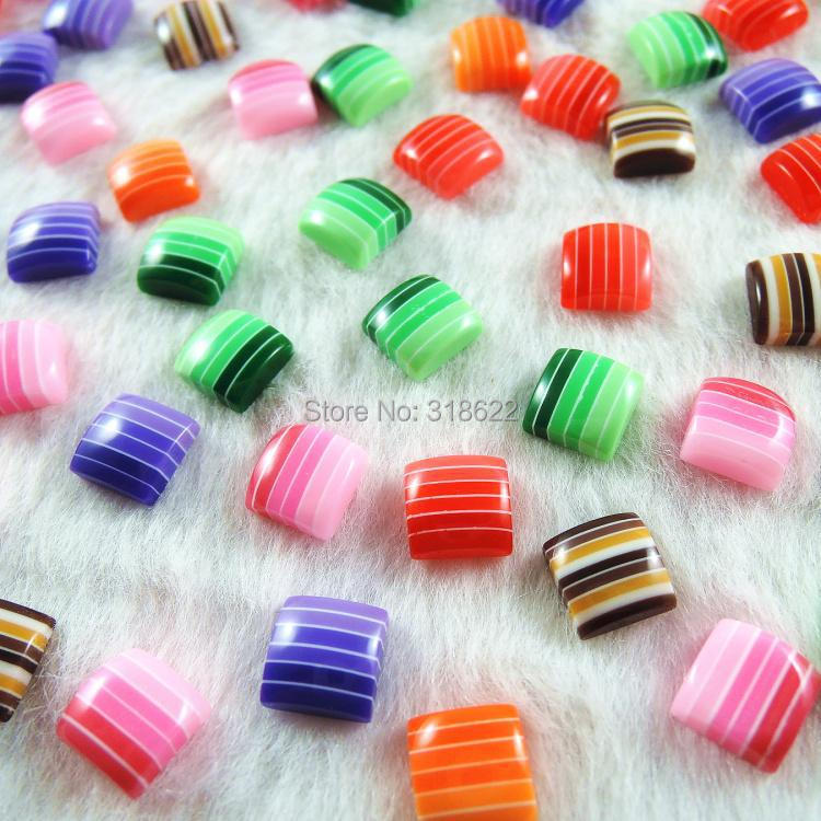 New Assorted 6 Colors Wholesale 8mm Half Flat Back Acrylic