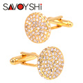 SAVOYSHI Luxury Round Crystal Cufflinks for Mens Shirt Cuff bottons High Quality Gold Cufflinks Fashion Brand Jewelry Design
