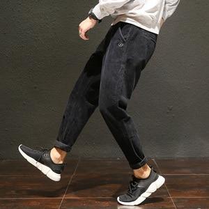 Image 5 - מזדמן בתוספת גודל שחור יין אפור קורדרוי מכנסיים לגברים כותנה Loose בבאגי הרמון מכנסיים גדול צד כיסי ירך הופ pantalon Homme