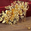 Gold Handmade Bride Costume Hair Accessories Chinese Style Headdress Coronet  Frontlet Hairpin Combs with Tassel