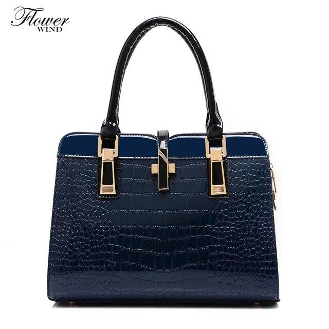 Flower Wind Hot 2017 Women Handbag S Work Bag Casual Patent Leather Handbags Shoulder