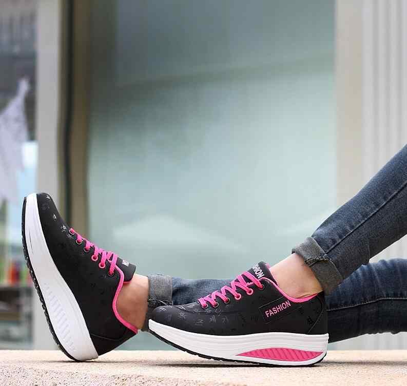 HOT Dành Cho Nữ 2019 Thoáng Khí Chống Nước Nêm Nền Tảng Vulcanize Giày Người Phụ Nữ Da PU Nữ Giày Tenis Feminino