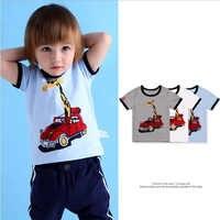 Crianças menino t camisas de impressão padrão carro meninos gola tees curto o pescoço Camisetas para Crianças algodão camiseta animal t camisa dos miúdos do bebê