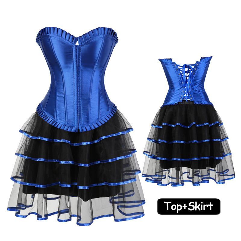 Blue Sexy Ruffles   Corset   Dress Women's Steampunk Clothing Vintage Halloween Costume Gothic   Bustiers     Corsets   Skirt Set