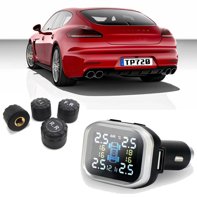 Car TPMS Tire Pressure Monitoring System cigarette lighter Digital LCD Display Auto Security Alarm Systems Tyre Pressure TP720