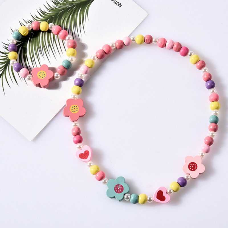 1 Set Children Jewelry Cartoon Necklace Bracelet Kids Candy Color Girls Gifts