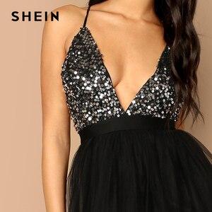 Image 5 - SHEIN noir entrecroisé dos Sequin corsage maille licou col en V profond ajustement et Flare solide mince longue robe automne femmes robes de fête