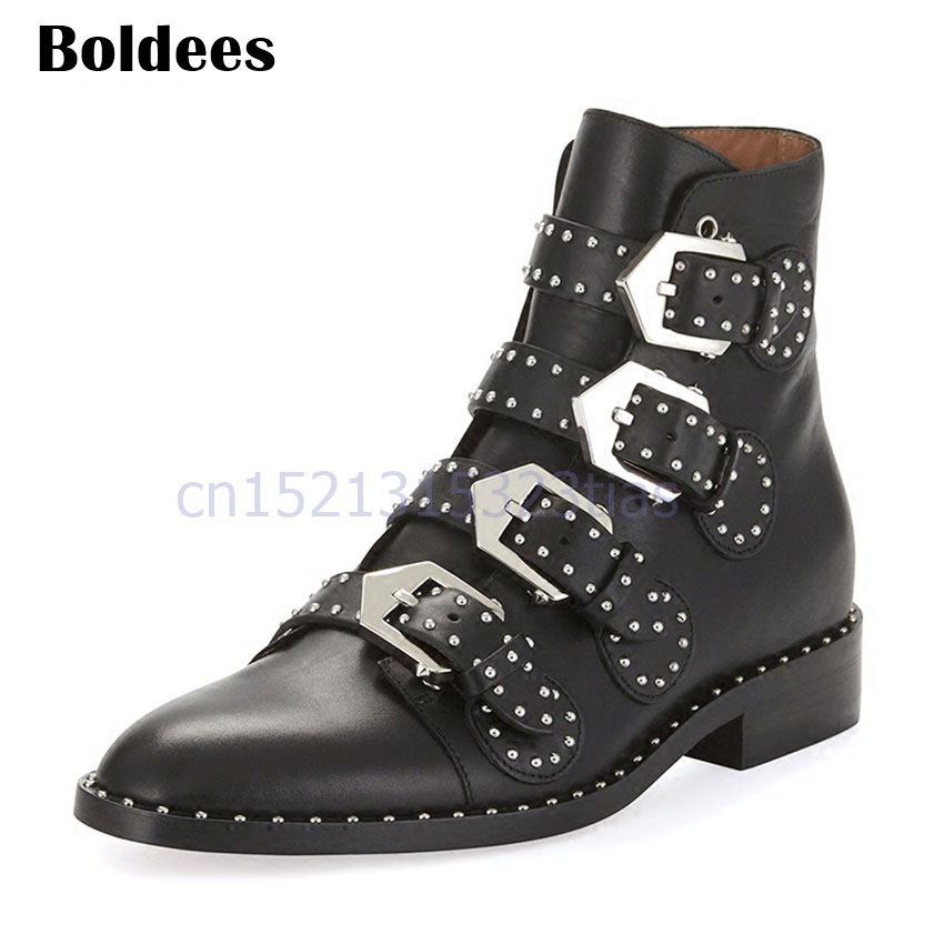 Black Leather Martin Boots Women Pointed Toe Metal Buckle Rivets Belt Buckle Motorcycle Boots Woman Fashion Ankle Boot stylesowner british women martin boots belt buckle rivets round toe flat knight boots motocyle real leather cool boots female