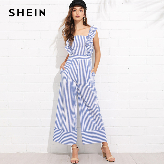 007fd7d5cf81 SHEIN Multicolor Vacation Bohemian Beach Backless Ruffle Trim Wide Leg  Striped Straps Jumpsuit Summer Women Casual