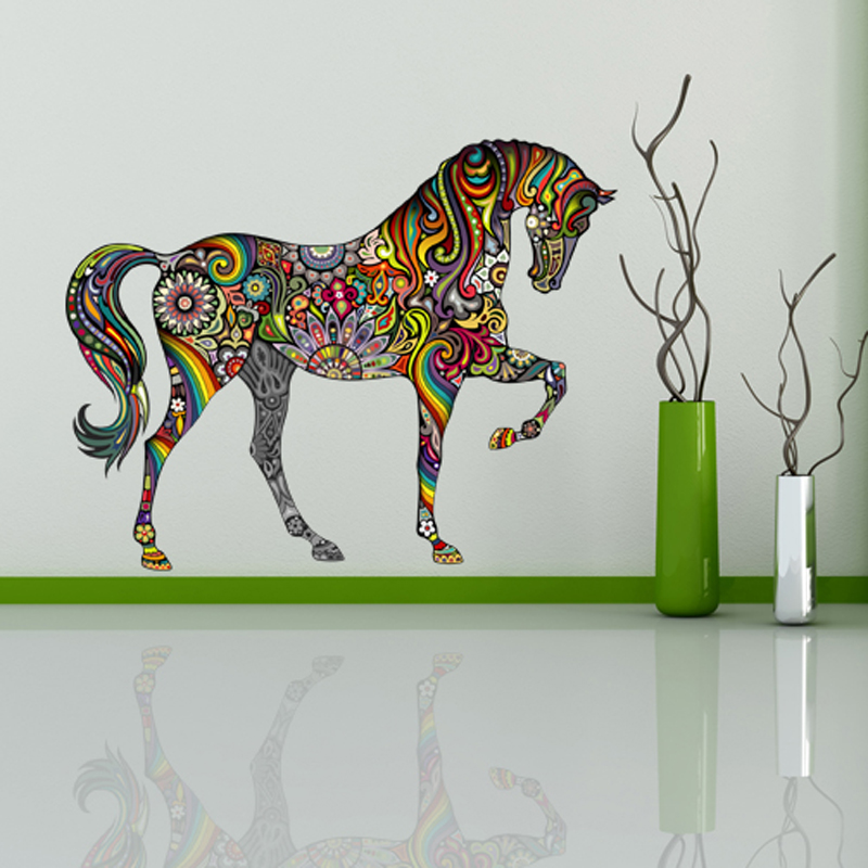 2016 new design floral horse mural art decal wall for kids for Decor mural wall art
