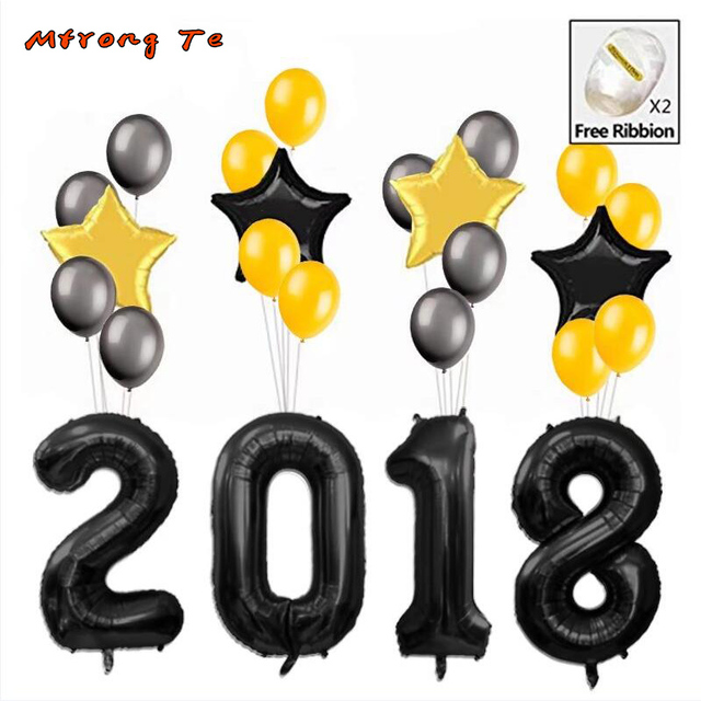 US $9 11 20% OFF|40'' Gold silver number 2018 helium foil balloons with  free ribbion for Graduation Decoration, 2018 anniversary party decora-in