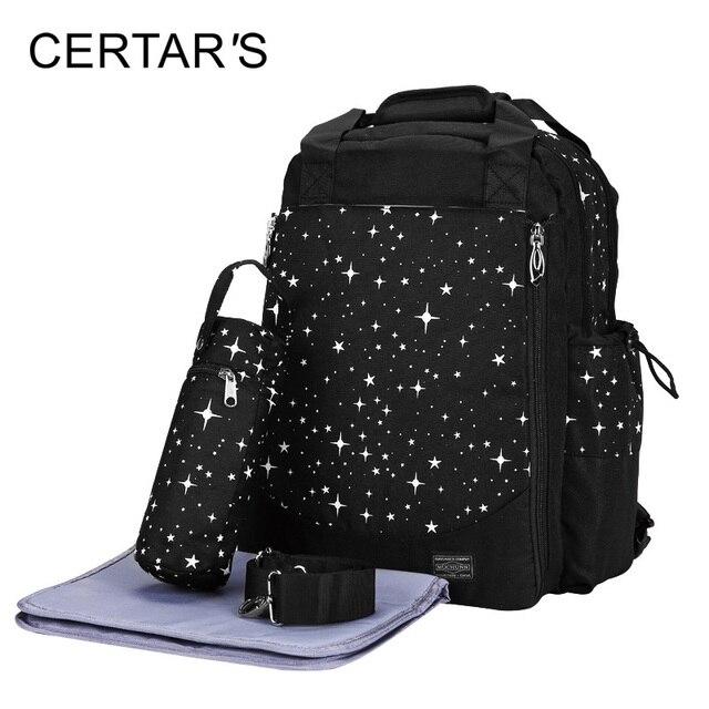 CERTAR'S Star Laptop Diaper Bag Backpack Large Capacity Cart Changing Maternity Shoulder bag Baby Nappy Bags Stroller Pram Bags