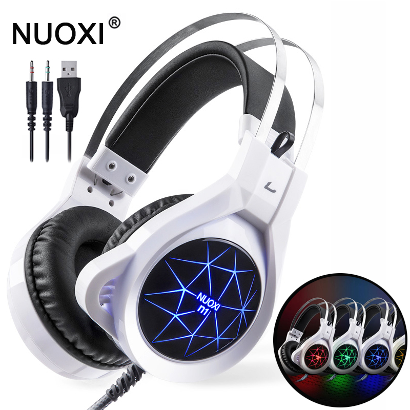 NUOXI N1 Komputer Stereo Gaming Headphone Casque Jauh Bass Permainan Earphone Headset dengan Mic LED Light untuk PC Gamer