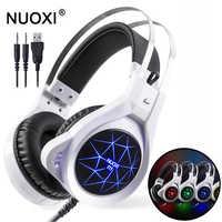 NUOXI N1 ordinateur stéréo Casque de jeu meilleur Casque jeu de basse profonde Casque d'écouteur avec micro lumière LED pour PC Gamer