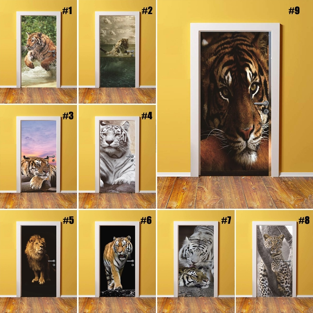 Self Adhesive Diy Art Decal Sticker Animal Tiger 3D Home Door Decoration Renovation PVC Wallpaper For Living Room Print Picture