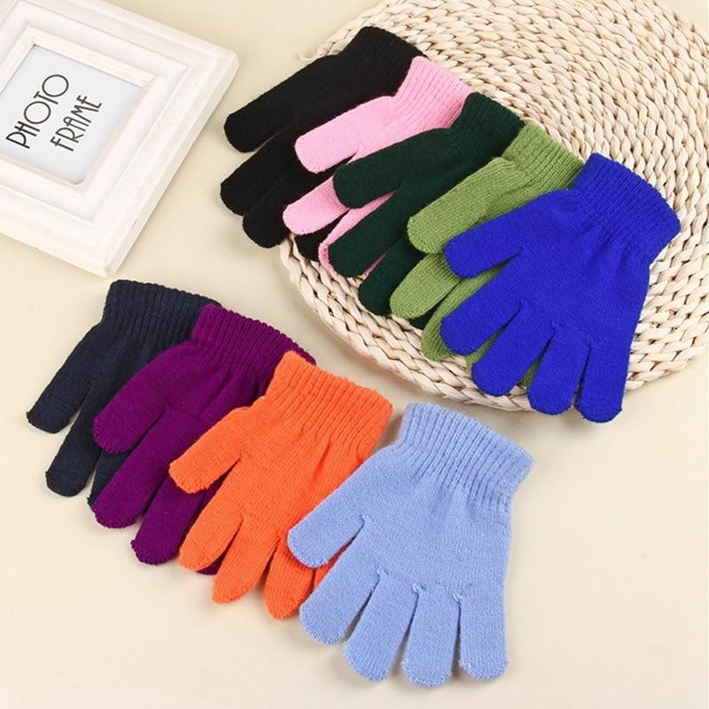 9 Colors Children Stretch Autumn Winter Warm Gloves Kids Baby Girls Boys Solid Color Finger Gloves