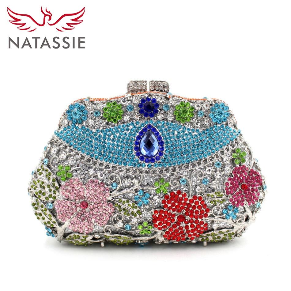 NATASSIE Crystal Clutch Bag Female Flower Evening Party Bag With Chain Lady Pink Wedding Purses Sky Blue L2048 bort bws 1200u sr