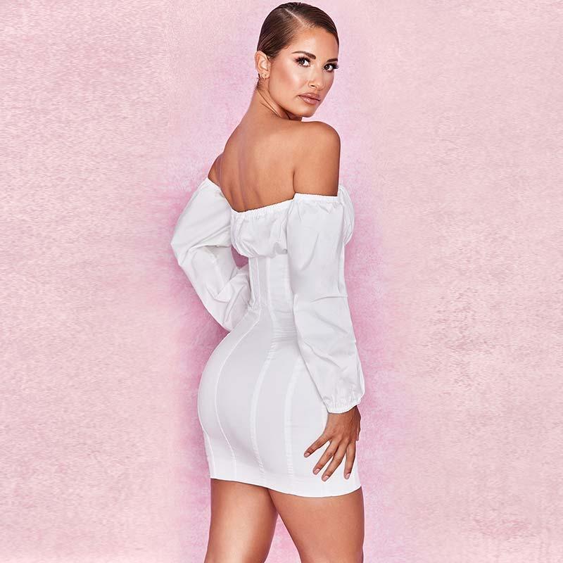 19 Summer Dress Women Fashion Solid Casual Regular Long Sleeve Sexy Club Slash neck Bangdage Sheath Women Dresses Vestidos 10