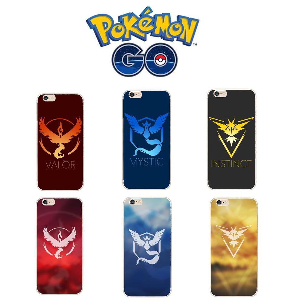 Mobile Game Pokemons Go Pokeball Team Valor Team Mystic Team Instinct Soft Silicon Cases TPU Cover For iPhone 5 5S SE 5C 6 6S