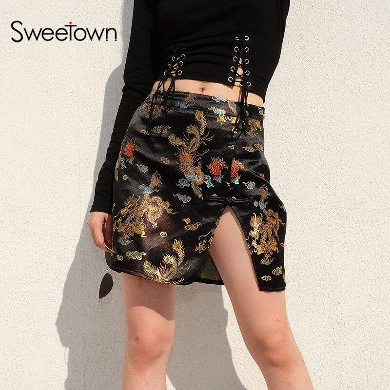 Sweetown Dragon Print Skirts Womens Chinese Style Faldas Mujer Moda 2018 Fashion Sexy Split High Waist A Line  Mini Skirt Autumn