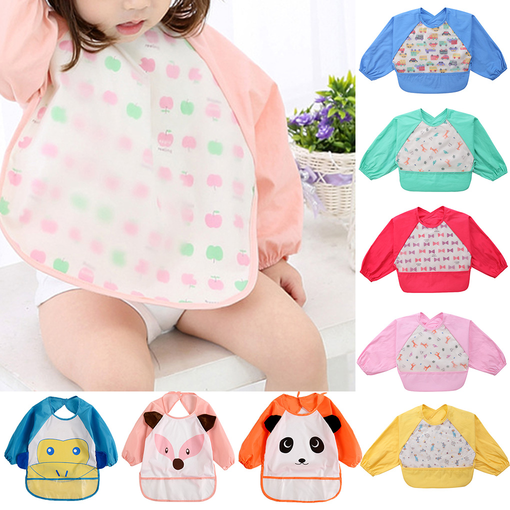 Mambobaby High Quality Infant Baby Bibs Waterproof Long Sleeve Baby Burp Cloths Cartoon Baby Anti Dirty Feeding Apron