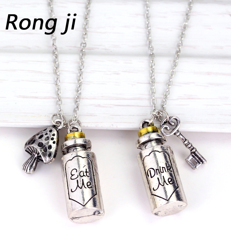 2 Stijlen Film Alice in Wonderland Koppel de titel van het album Eet me Drink mij Charme Hanger Alloy Bottle Pendant long Necklace