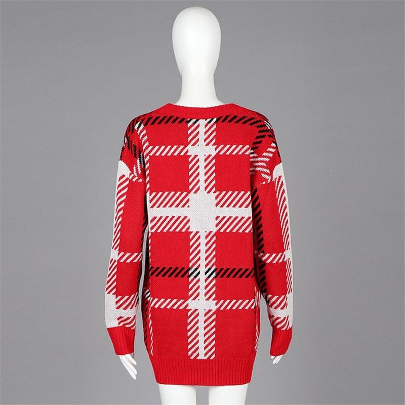Manteau Piste Cardigans Automne Designer Veste Cavalier Vêtements Tricoté Femmes Chandail Q107 Lâche Multi Rouge Plaid Hiver Fnw8Sqt8