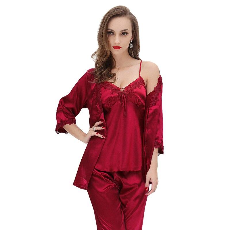 JULY'S SONG 3 Pieces Pajamas Set Women Pajamas Sleepwear Long Sleeves and Pants Satin Faux Silk Sleepwear Robe Lace Sling