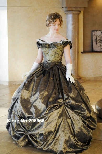 Free Shipping Custom Victorian Bridal Civil War Steampunk Ball Gown Dress In Embroidered Taffeta