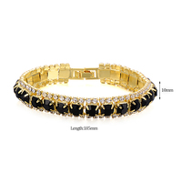 Fashion Women Square Crystal Black Onyx Lucky Charm Love Bangle Cuff Bracelet For Best Friend Yellow