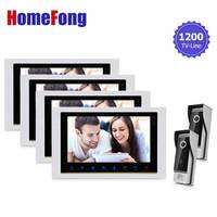 Homefong Door Access Control Video Door Intercom Phone System Doorbell Cameras 2 Home Office 4 LCD 10 Inch Monitors HD 1200TVL