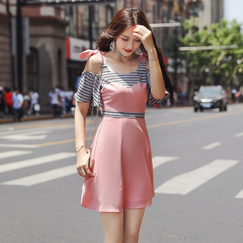 EAD Plaid Splice Spaghetti Strap Mini Dress Summer Vintage Women Chiffon Dress Pink Elegant Off Shoulder Dresses Female Robe in Dresses from Women 39 s Clothing