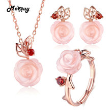 MoBuy Pink Flower 100% 925 Sterling Silver Jewelry Sets For Women Natural Gemstone Rose Quartz Wedding Jewelry For Women V033ENR
