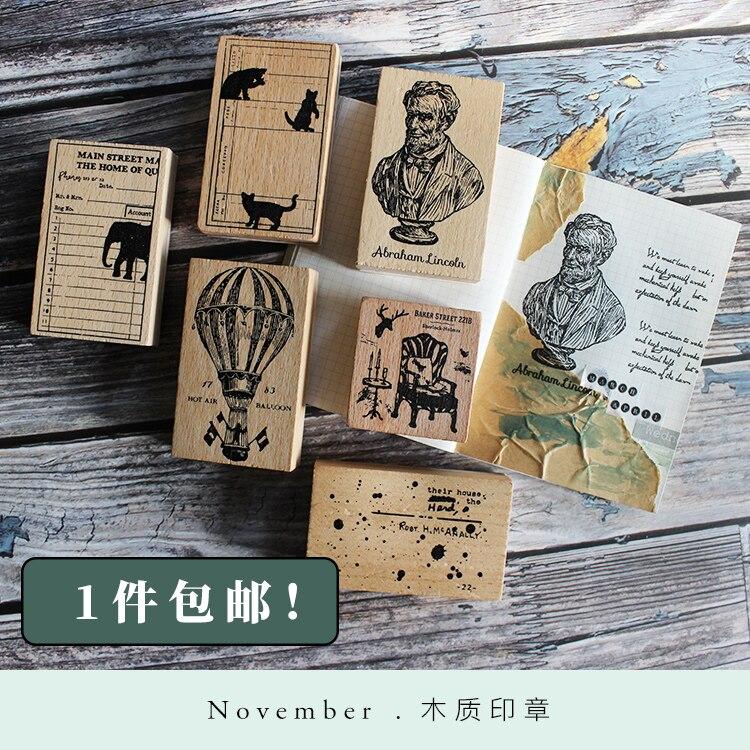 Moodtape Vintage Wood Clear Stamp For DIY Scrapbooking/photo Album Decorative Stamp Portrait CatDog Rubber Stamp Seal