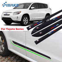 smRKE Car styling 4pcs High Quality Brand New Side Doors Rubber Bumper Protector Guard Scratch Sticker Trim For Toyota Vehicle