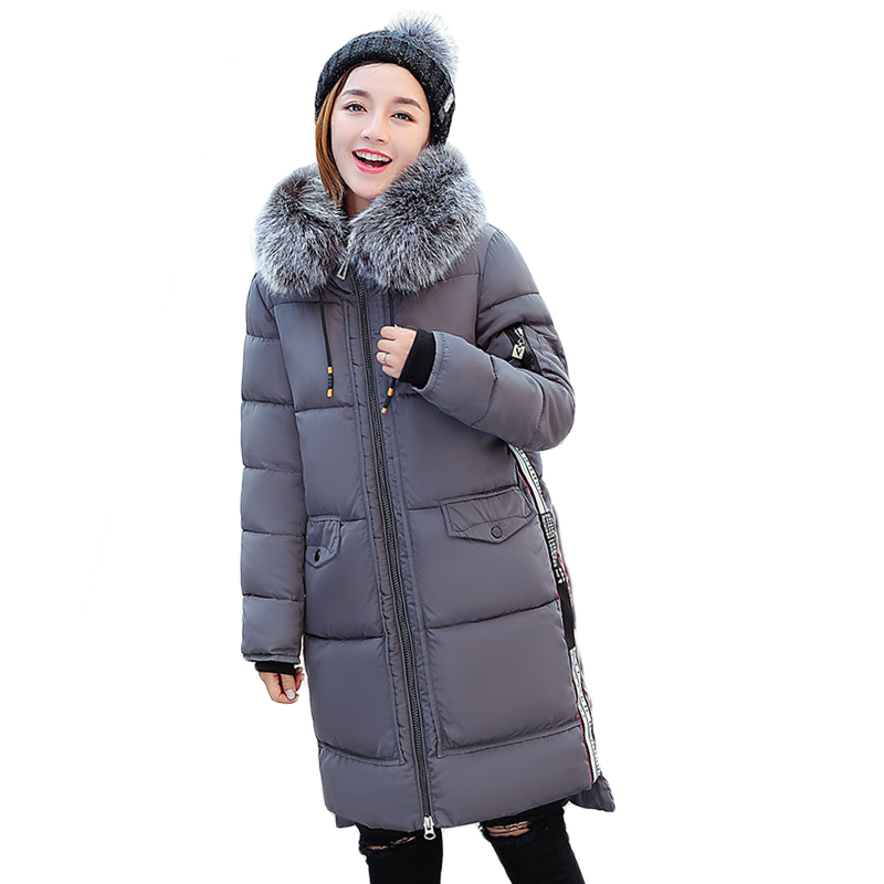 New Fashion 2017 Winter Jacket Women Medium-long Slim Large Fur Female Thicken Coat Parkas Students Hooded Warm Jackets CM1742 new winter jacket coats 2017 women parkas long slim thicken warm jackets female large fur collar hooded cotton parkas cm1350