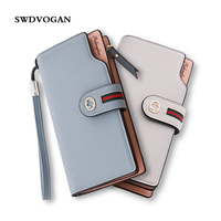 2017 Luxury Woman PU Leather Mobile Phone Wallet Candy Color Women Credit Card Holder Womens Wallets