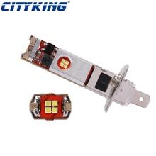 50 шт. автомобиль H1 светодиодный H3 светодиодный canbus 12 светодиодный чип CSP супер белый задний фонарь для фар головного света и противотуманных фар с возможностью креативного Авто Мото лампа 10-30 в