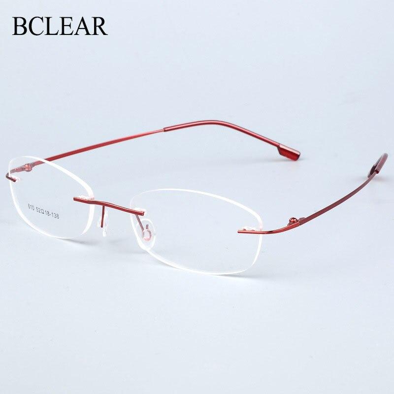 BCLEAR Rimless Glasses Frame Women Titanium Alloy Ultralight Eyeglasses Prescription Frameless Eyewear Myopia Optical Frame