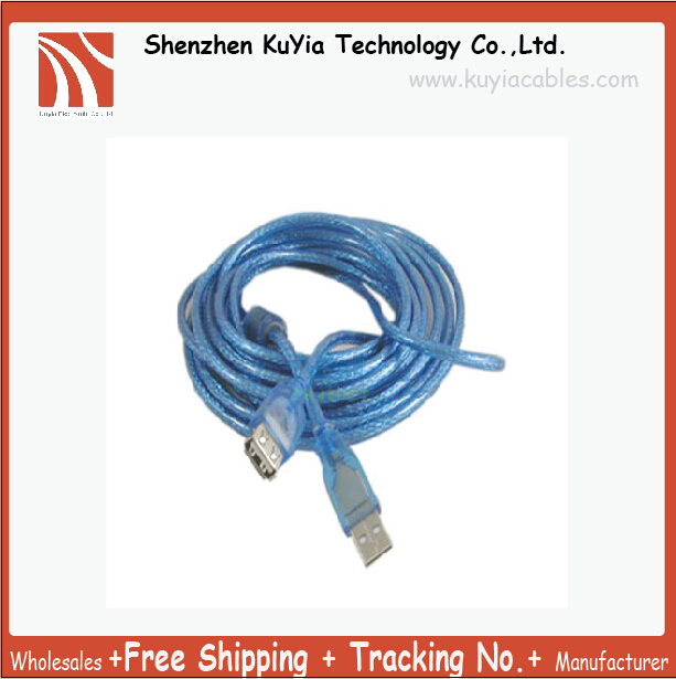 US $6 99 |KUYiA Free shipping Track NO  Good Quality USB Cable A Male to A  Female USB Extension Cable 5M 15ft Blue-in Data Cables from Consumer