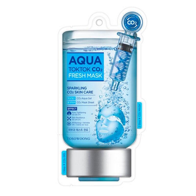 TOSOWOONG Aqua Tok Tok CO2 Mask 5pcs Korea Face Maks Hydrating Anti Wrinkle Whitening Exfoliating Acne Treatment Facial Mask